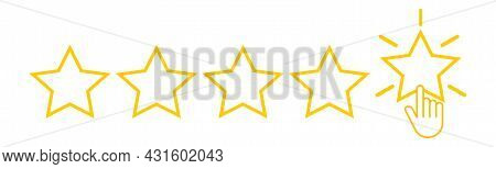 Five Yellow Stars With Hand Click. Set Of Quality Rank. Best Choice Illustration. Hand Touching The