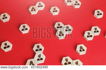 Hexagonal Figures Of Business People. Hiring New Employees And Recruiting Staff. Personnel Managemen