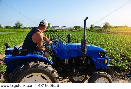 Farmer Works In The Field With A Tractor. Agroindustry And Agribusiness. Farm Machinery. Crop Care,