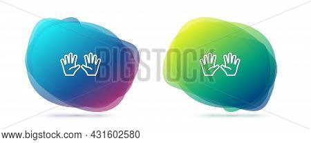 Set Line Medical Rubber Gloves Icon Isolated On White Background. Protective Rubber Gloves. Abstract