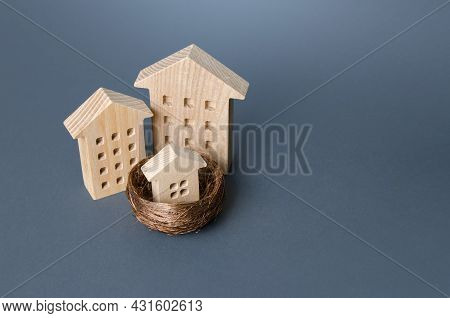 Big Houses And Small House In The Bird Nest. Parenting Metaphor. Investing In Real Estate. Construct