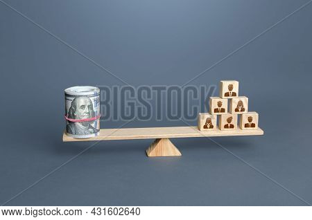Money Dollars And People On Scales. Concept Of Wages For Employees And Workers. Team Productivity, B