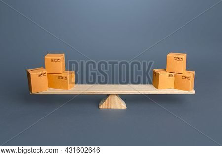 Boxes On Scales. Trade Balance. Economic Relations. Buying, Selling Or Bartering Goods. Commerce And