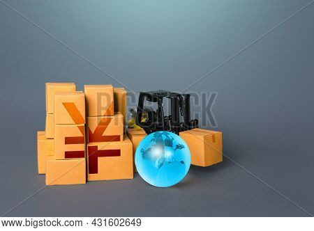 Forklift And Boxes With Yen Or Yuan Symbol. Trade And Transportation Of Goods. Warehousing Logistics