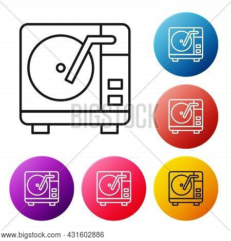 Black Line Vinyl Player With A Vinyl Disk Icon Isolated On White Background. Set Icons Colorful Circ