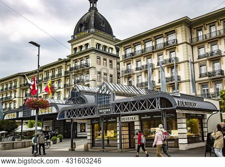 Switzerland, Interlaken, August 2021 - Architecture Of The Victoria - Jungfrau Five Star Grand Hotel