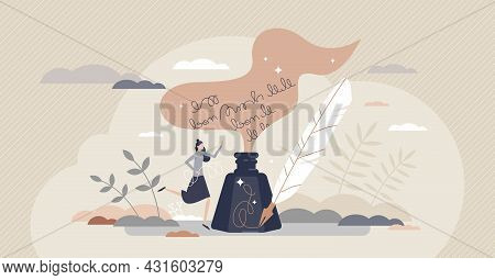 Poetry And Literature Story Writing With Ink And Feather Tiny Person Concept. Author Creative Handwr
