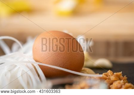 Egg With White Raw Noodle, The Ingredient For Padthai Menu.