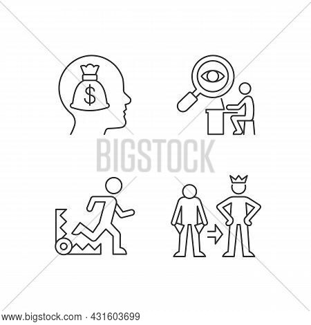 Extrinsic Motivation Linear Icons Set. Money Reward Booster. Desire To Change Self. Employee Control