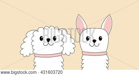 Cchihuahua Toy Terrier Maltese Poodle Dog Puppy Face Head Set. White Lapdog. Animal Icon. Cute Kawai