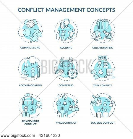 Conflict Management Blue Concept Icons Set. Solving Relationship Issues. Work Relations. Resolving T