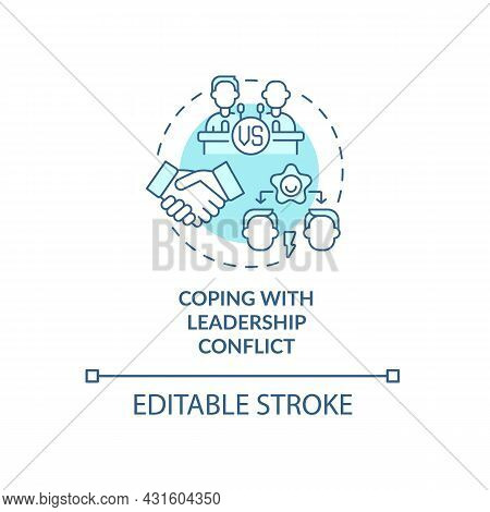 Coping With Leadership Conflict Blue Concept Icon. Navigating Competing Leaders. Conflict Management