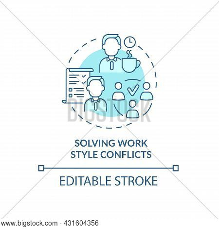 Solving Work Style Conflict Blue Concept Icon. Resolving Workplace Arguments. Conflict Management Ab