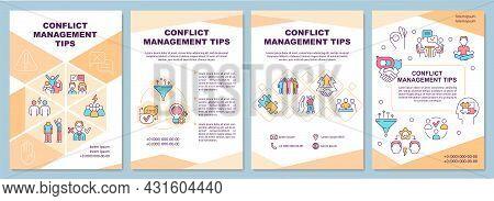 Conflict Management Tips Brochure Template. Human Relations. Flyer, Booklet, Leaflet Print, Cover De