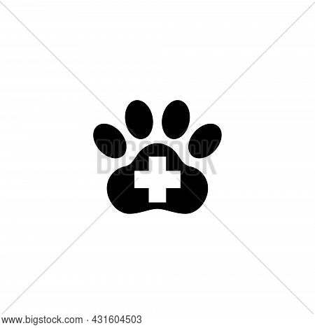 Paw First Aid Cross Veterinary Clinic. Flat Vector Icon Illustration. Simple Black Symbol On White B