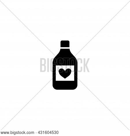 Heart Protection Medicine Bottle, Syrup. Flat Vector Icon Illustration. Simple Black Symbol On White