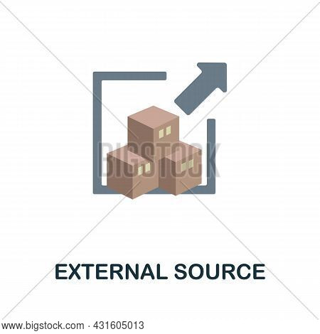 External Source Flat Icon. Simple Sign From Procurement Process Collection. Creative External Source
