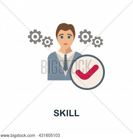 Skill Flat Icon. Colored Sign From Productivity Collection. Creative Skill Icon Illustration For Web