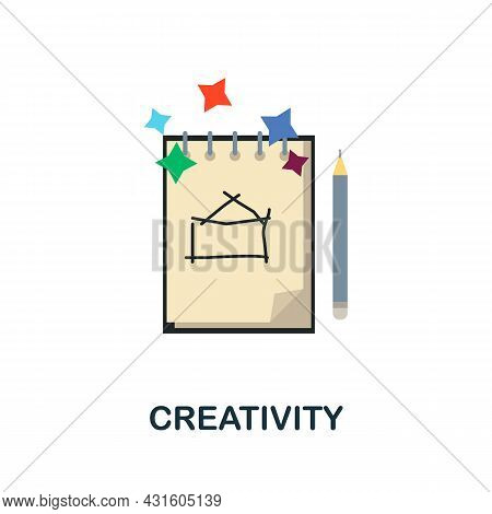 Creativity Flat Icon. Colored Sign From Productivity Collection. Creative Creativity Icon Illustrati