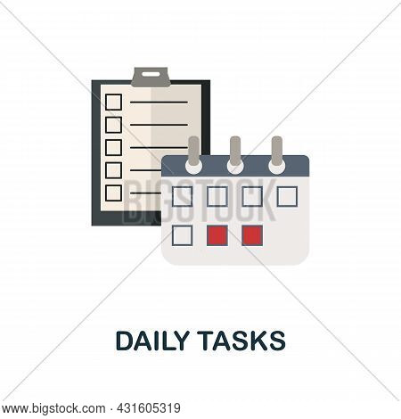 Daily Tasks Flat Icon. Colored Sign From Productivity Collection. Creative Daily Tasks Icon Illustra