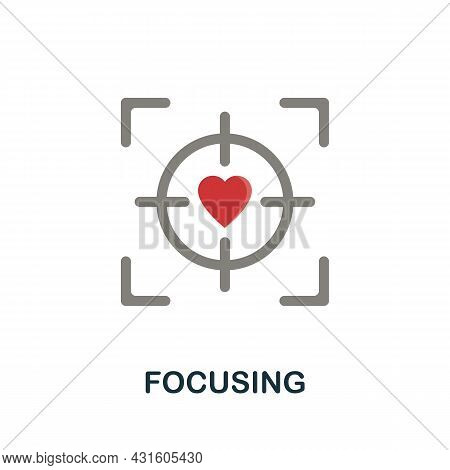 Focusing Flat Icon. Colored Sign From Productivity Collection. Creative Focusing Icon Illustration F