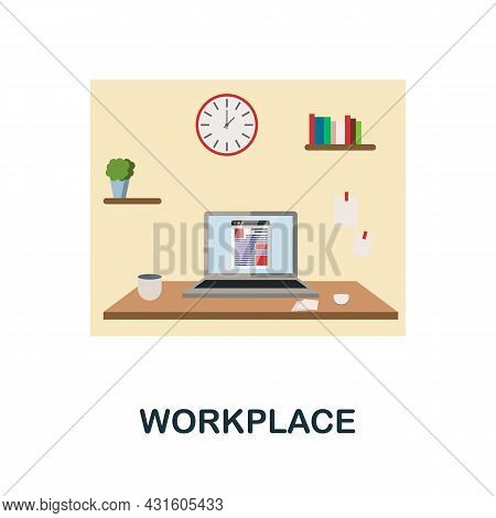 Workplace Flat Icon. Colored Sign From Productivity Collection. Creative Workplace Icon Illustration