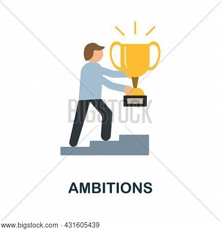 Ambitions Flat Icon. Colored Sign From Productivity Collection. Creative Ambitions Icon Illustration
