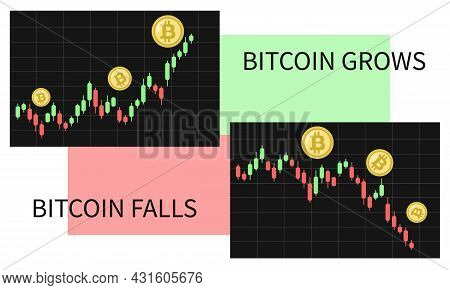 Crypto Currency Charts. Bitcoin Grows And Falls. Cryptocurrency Btc Graph Decreases And Increases. P