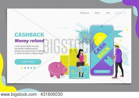 Online Cashback Concept. Landing Page Or Web Banner Template Design. Flat Illustration.