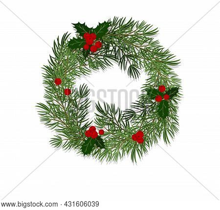 Christmas Wreath Made Of Spruce Branches Decorated With Leaves And Holly Berries. Flat Style Vector