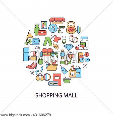 Shopping Mall Abstract Color Concept Layout With Headline. Clothing And Items. Mall Categories Of Pu