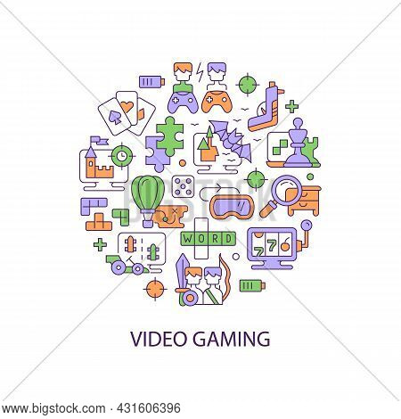 Video Game Abstract Color Concept Layout With Headline. Digital Entertainment. Gamers Console Fun. P