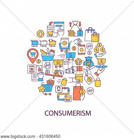 Consumerism Abstract Color Concept Layout With Headline. Sell Goods. Special Offers For Shopping. Pr