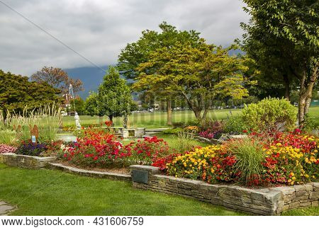 A Beautiful Park With Flower Beds In The Hohe Matte High Meadow From Which, In Fine Weather, You Can