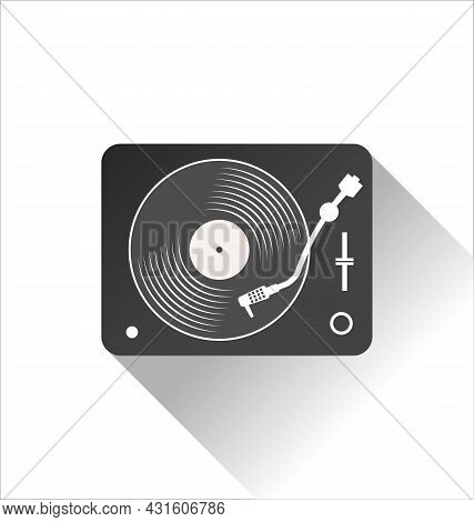 Simple Black And White Turntable Illustration Vector