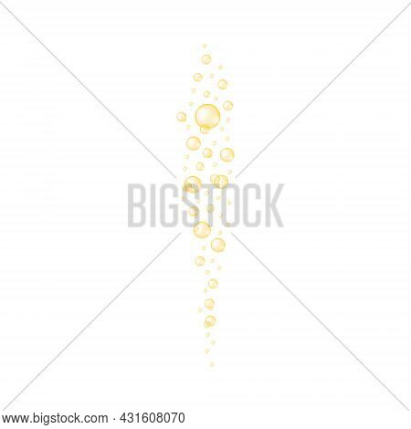 Golden Bubbles Streaming. Champagne, Soda, Beer, Carbonated Water, Sparkling Wine Texture. Molecule