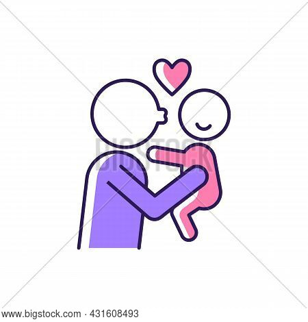 Kissing Child On Cheek Rgb Color Icon. Showing Affection. Express Parental Love To Baby. Family Rela
