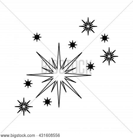 Outline Fireworks Sparklers. Star Twinkles Icon Isolated On White Background. Bright Flash Symbol. S