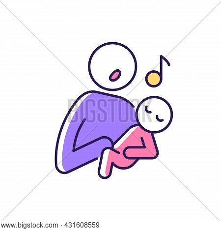 Singing To Baby Rgb Color Icon. Infant-directed Song. Parent Voice Recognition. Sing Lullabies To Ne