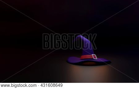 3d. The Witch's Hat On A Black Background Represents The Spooky, Magical, And Mysterious Halloween S