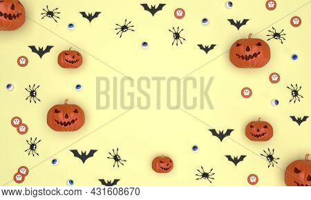 3d. Halloween Festival Background On Yellow Background Ghost Pumpkin, Bats, Eyeballs, Spiders, Ghost