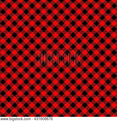 Diagonal Red And Black Buffalo Seamless Pattern. Checkered Lumberjack Plaid Texture. Geometric Backg
