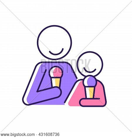 Eating Ice Cream Together Rgb Color Icon. Increase Family Bonding Over Food. Bringing Parent And Chi
