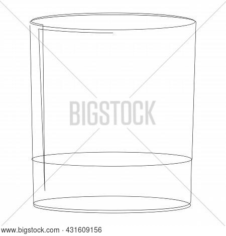 Hand Drawn Old Fashioned Glass. Isolated On White Background. Rocks Glass Vector Illustration.