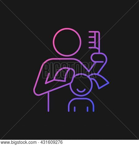 Braiding Daughter Pigtails Gradient Vector Icon For Dark Theme. Bonding Experience. Brush Hair. Deve
