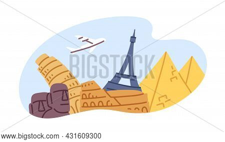 Plane Traveling Over Different Famous Landmarks. Tourism And Excursions Concept. Holiday Journey By