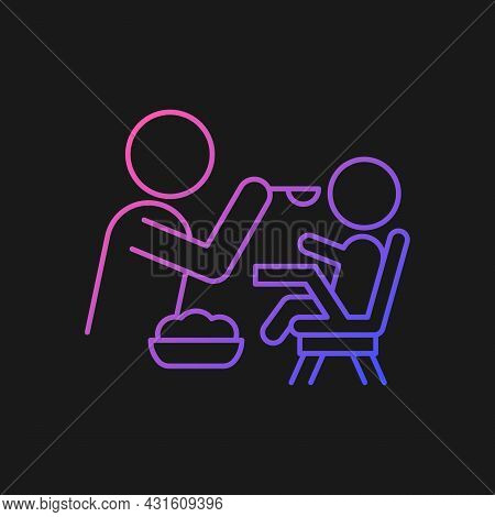 Feeding In Highchair Gradient Vector Icon For Dark Theme. Helping Baby Eating. Bonding With Child Du