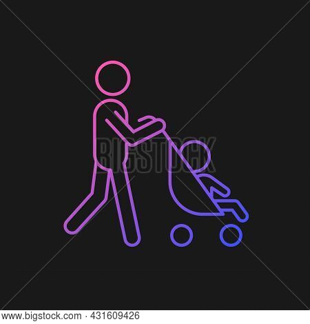 Walking With Stroller Gradient Vector Icon For Dark Theme. Bonding Time With Newborn. Walk With Baby