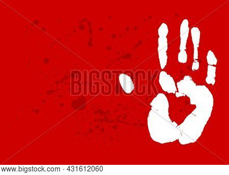 Print Of A Human Hand With Copy Space. Palm Imprint In White Over Blood Splatter Red. Vector Horror