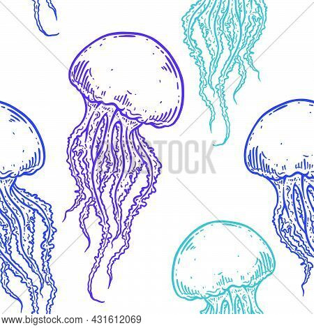 Hand Drawn Jellyfish Vector Seamless Pattern. Medusa With Long Tentacles Background Illustration Ove